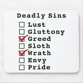 Lista de control de siete pecados mortales (001010 alfombrillas de raton