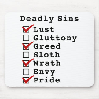 Lista de control de siete pecados mortales (101010 tapetes de ratones