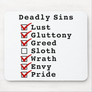 Lista de control de siete pecados mortales (111011 tapetes de raton