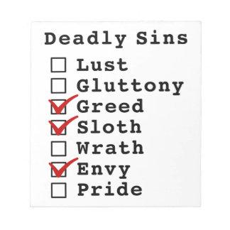 Lista de control de siete pecados mortales bloc de notas