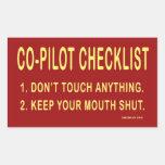 Lista de control del copiloto: Pegatinas Pegatina Rectangular