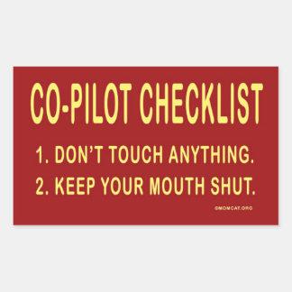 Lista de control del copiloto: Pegatinas Rectangular Pegatina
