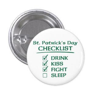 Lista de control del día de St Patrick: Bebida, be Pin