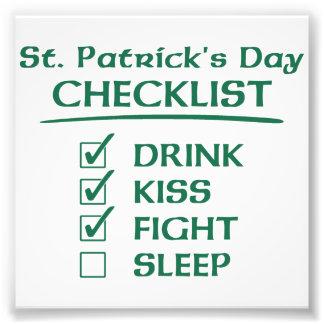 Lista de control del día de St Patrick: Bebida, Cojinete