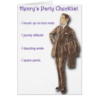 Lista de control del fiesta de Henry Tarjeta De Felicitación