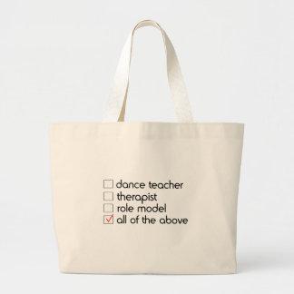 Lista de control del profesor de la danza bolsa tela grande