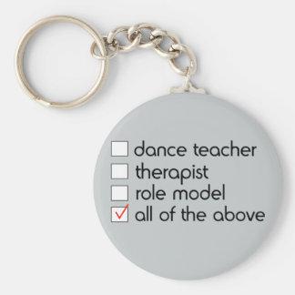 Lista de control del profesor de la danza llavero redondo tipo pin