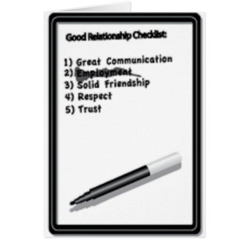 Lista de control tarjeta de felicitación