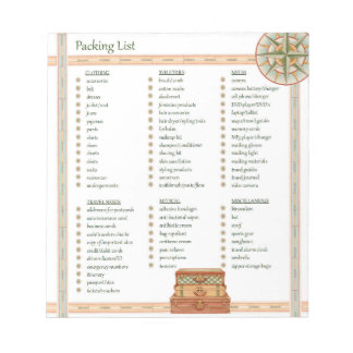 Lista de embalaje - libreta libreta para notas