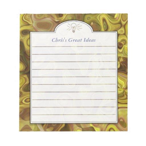 Lista de encargo amarilla oscura de la idea del ar blocs de notas