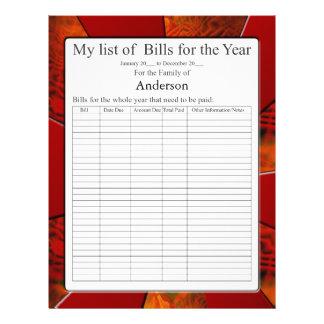 Lista de forma de cuentas anual plantilla de membrete
