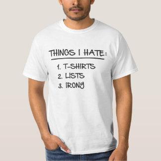 Lista de la camiseta de cosas irónicas que odio