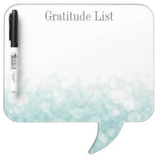 Lista de la gratitud de Bokeh Pizarra