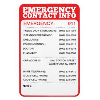 Lista de la información de contacto de la emergenc iman rectangular