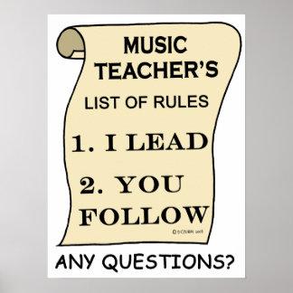 Lista de los profesores de música de reglas póster