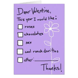 Lista de objetivos de la tarjeta del día de San