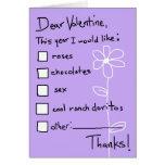 Lista de objetivos de la tarjeta del día de San Va