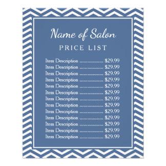"""Lista de precios azul del salón de belleza de folleto 4.5"""" x 5.6"""""""