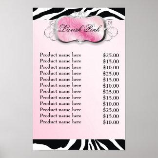 lista de precios de la cebra rosada del disco 311- impresiones