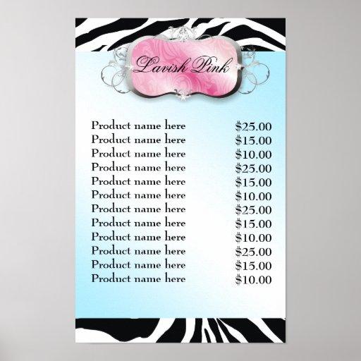 Lista de precios de la cebra rosada pródigo del di posters