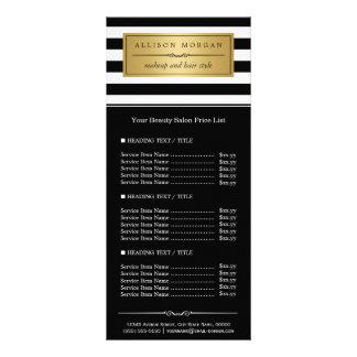 Lista de precios de la etiqueta de oro blanca tarjeta publicitaria