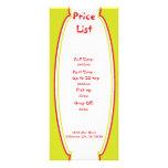 Lista de precios del cuidado de niños de la sol diseños de tarjetas publicitarias
