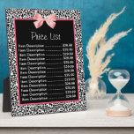 Lista de precios del estampado leopardo blanco y n placas para mostrar