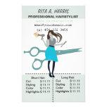 Lista de precios del estilista del Hairstylist del Tarjetas Informativas