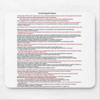 Lista de prejuicios cognoscitivos alfombrilla de raton