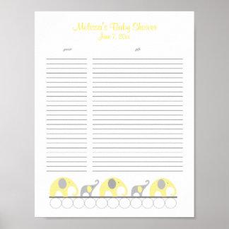Lista de regalo amarilla y gris de la fiesta de póster