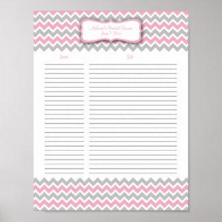 Lista de regalo rosada y gris de la ducha de Chevr Poster