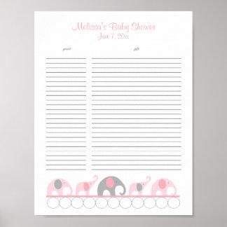 Lista de regalo rosada y gris de la fiesta de póster