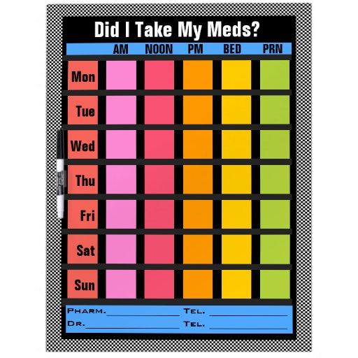 Lista de verificación de la medicación (personaliz pizarra blanca