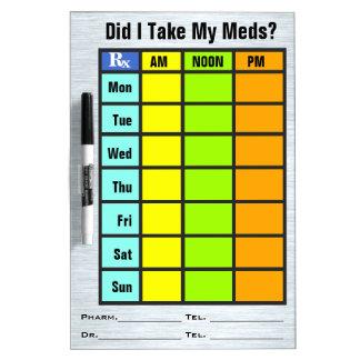 Lista de verificación de la medicación seque al t pizarra blanca