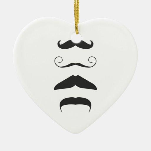 ¡Lista del bigote - elija su arma!! Adorno De Cerámica En Forma De Corazón