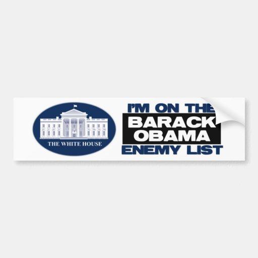 Lista del enemigo de Barack Obama Pegatina Para Auto