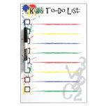 Lista del lío de los niños tablero blanco