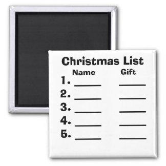 Lista del navidad imán cuadrado