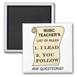 Lista del profesor de música de reglas imán cuadrado