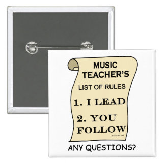 Lista del profesor de música de reglas pin cuadrado