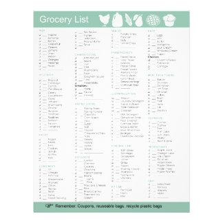 "Lista del ultramarinos de la comida, del papel, de folleto 8.5"" x 11"""