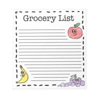 Lista del ultramarinos de las frutas bloc de papel