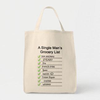 Lista del ultramarinos de un solo hombre bolsa tela para la compra