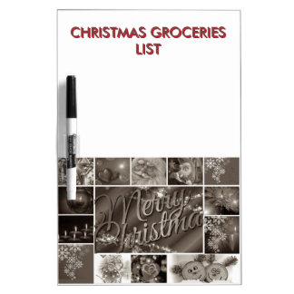 Lista del ultramarinos del navidad con la foto de tableros blancos