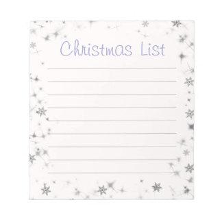 Lista púrpura del navidad del copo de nieve bloc de notas