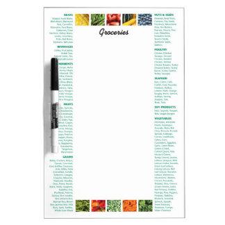 Lista sana del ultramarinos de las comidas pizarra blanca