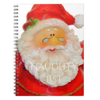 Lista traviesa del navidad del padre de Papá Noel Notebook