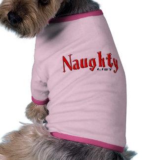 Lista traviesa camiseta de perro