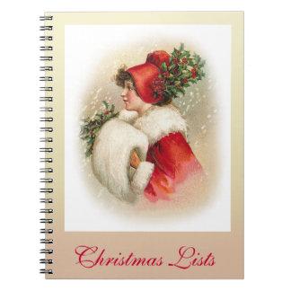 Listas del navidad libro de apuntes con espiral