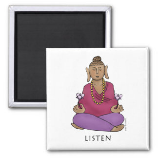 Listen 2 Inch Square Magnet
